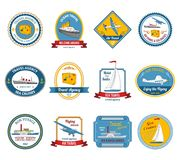 Cruise travel agency tours labels colored Stock Photos