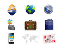 Cruise travel concept icon set Royalty Free Stock Image
