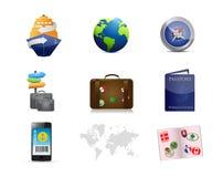 cruise travel concept icon set Royalty Free Stock Image