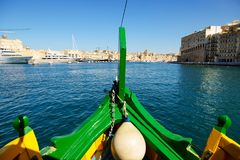 The cruise travel in traditional Maltese Luzzu boat. In Malta Royalty Free Stock Images