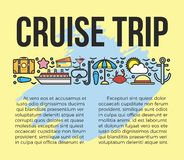 Cruise trip information list vector illustration. Sun bathes on deck Stock Image