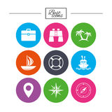 Cruise trip, ship and yacht icons. Travel signs. Royalty Free Stock Images