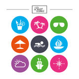 Cruise trip, ship and yacht icons. Travel signs. Stock Photography