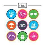 Cruise trip, ship and yacht icons. Travel signs. Royalty Free Stock Photos