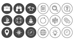 Cruise trip, ship and yacht icons. Travel signs. Stock Photo