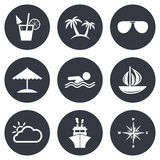 Cruise trip, ship and yacht icons. Travel signs Royalty Free Stock Photos