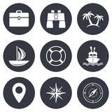 Cruise trip, ship and yacht icons. Travel signs Stock Photo