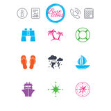 Cruise trip, ship and yacht icons. Travel signs. Information, report and calendar signs. Cruise trip, ship and yacht icons. Travel, lifebuoy and palm trees Royalty Free Stock Photos