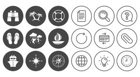 Cruise trip, ship and yacht icons. Travel signs. Cruise trip, ship and yacht icons. Travel, lifebuoy and palm trees signs. Binoculars, windrose and storm Stock Photo