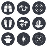 Cruise trip, ship and yacht icons. Travel signs. Cruise trip, ship and yacht icons. Travel, lifebuoy and palm trees signs. Binoculars, windrose and storm symbols Stock Photography