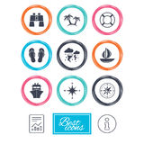 Cruise trip, ship and yacht icons. Travel signs. Cruise trip, ship and yacht icons. Travel, lifebuoy and palm trees signs. Binoculars, windrose and storm Royalty Free Stock Photos