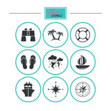 Cruise trip, ship and yacht icons. Travel signs. Royalty Free Stock Image