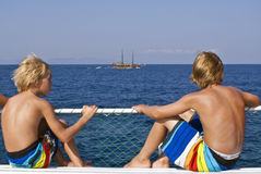 Cruise trip in Turkey. Young people enjoying a boat trip on the Aegean Sea. Turkish Aegean Coast is a very attractive touristic area in summer Royalty Free Stock Images