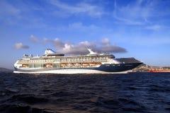 Big cruiseship Tui Discovery 2 sailing inside Algeciras bay and close to the Rock of Gibraltar. Stock Photos