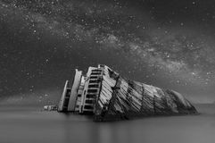 Cruise under the Milky Way Galaxy stock images