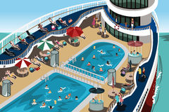 Cruise vacation. A vector illustration of people having a good time on their cruise vacation Stock Images