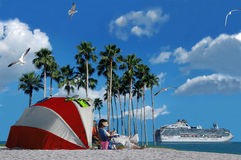 Cruise Vacation. A cruise ship and a person relaxing on the beach (vacation and holiday