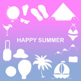 Cruise vacation icons made in trendy line style . Summer adventure emblem Stock Image