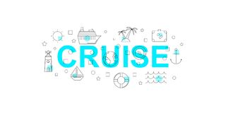 Cruise vector banner. Word with line icon. Vector background Stock Photos