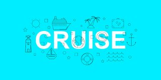 Cruise vector banner. Word with line icon. Vector background. Vector illustration Royalty Free Stock Image