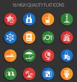 Cruise 16 flat icons. Cruise vector icons for user interface design Stock Illustration