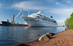 The cruise vessel Amadea floats on the sea channel in St. Petersburg Royalty Free Stock Photos