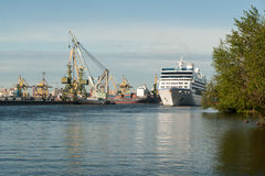 The cruise vessel Nautica floats on the sea channel in St. Petersburg Stock Images