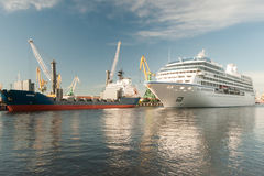 The cruise vessel Nautica floats on the sea channel in St. Petersburg Royalty Free Stock Image