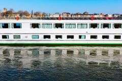 Cruise vessel on the Rhine in Cologne. Cruise vessel on the river Rhine in Cologne, Germany Royalty Free Stock Photo