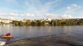 Cruise on the Vltava River in Prague,  Czech Republic, stock video footage
