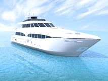 Cruise yacht. Luxury white cruise yacht floating on the sea in clear day stock image