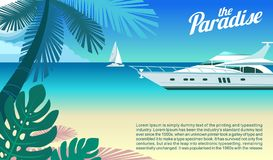Cruise yacht and a Paradise in the ocean beach with palm trees and white Sands Sea resort Paradise island. Turquoise water ocean Stock Photography