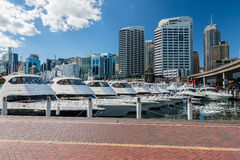 Cruise yacht in the port of Sydney. Are on the background of the business district stock photo