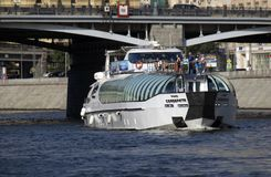 Cruise yacht sails on the Moscow river Stock Image