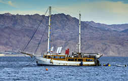 Cruise on yacht in the Red sea, Eilat, Israel Royalty Free Stock Photos