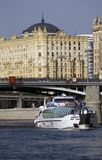 Cruise yacht sails on the Moscow river Royalty Free Stock Image