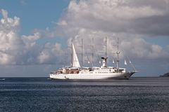 Cruise yacht - Saint-Pierre Bay - Martinique stock images