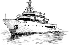 Cruise yacht. Vector drawing of the sea yacht for rest Royalty Free Stock Photo