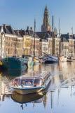 Cruiseboat на путешествии через каналы Groningen Стоковая Фотография RF