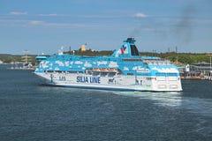 Cruiseferrylidstaten Galaxy in de haven van Mariehamn, Aland-Eilanden, Finland royalty-vrije stock afbeeldingen