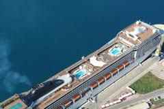 Cruiser. Aerial view of cruiser in Dubrovnik port stock photo