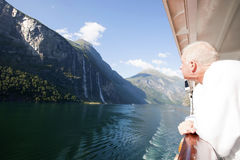 Cruiser Admiring Seven Sisters Falls in Geiranger Royalty Free Stock Photography