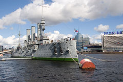 Cruiser Aurora. Famous cruiser Aurora, symbol of October Revolution, in Saint-Petersburg Royalty Free Stock Image