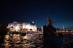 Cruiser Aurora. In St. Petersburg stock photos