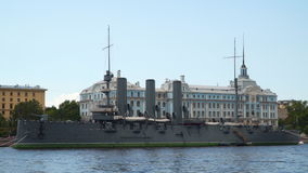 Cruiser Aurora on the background of the building of Nakhimov School stock video