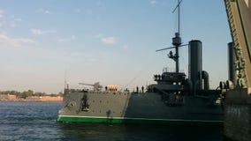 Cruiser Aurora floats on the river Neva stock footage