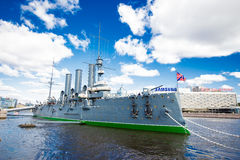 Cruiser Aurora on the Neva River Stock Image