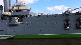 Cruiser Aurora on the Neva River stock video