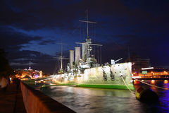 Cruiser Aurora at night Royalty Free Stock Image