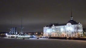 Cruiser Aurora at night in St. Petersburg. stock footage